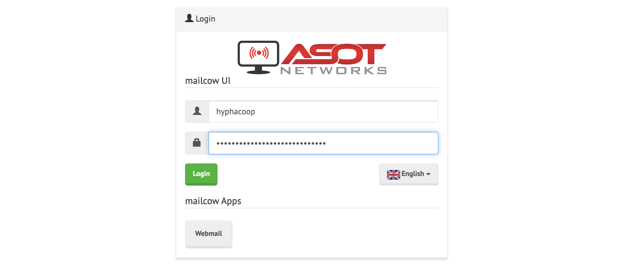 Screenshot of Mailcow login page